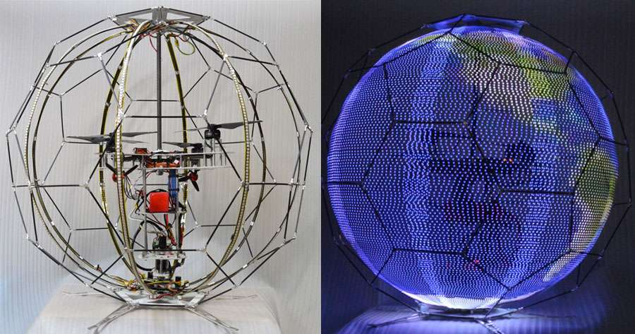 Le drone de NTT Docomo vise à révolutionner la publicité aérienne : l'image s'affiche sur les LED qui recouvrent sa surface sphérique ! © NTT Docomo