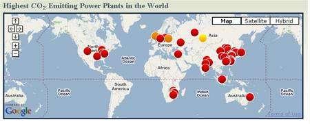 Les centrales thermiques des Etats-Unis et de la Chine sont loin devant toutes les autres pour la production de carbone atmosphérique (base de données Carma).