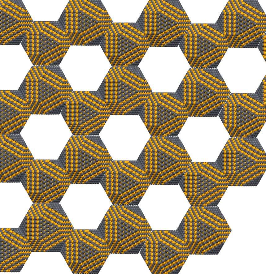 Les chercheurs montrent qu'une matrice en nid d'abeilles semblable à celle du graphène, en deux dimensions, et formée de nanocristaux peut, selon les cas, se comporter comme le graphène ou au contraire comme un isolant topologique. © Université du Luxembourg
