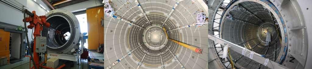 Vérification par rayons X des soudures, et installation du câblage électrique du module pressurisé du cargo Cygnus. © Rémy Decourt
