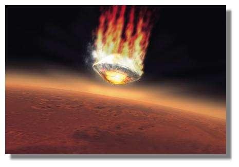 Après 5 jours de croisière balistique, Beagle-II effectuera une rentrée atmosphérique à grande vitesse protégée par son bouclier thermique. Quelques minutes plus tard, la sonde touchera le sol. © ESA