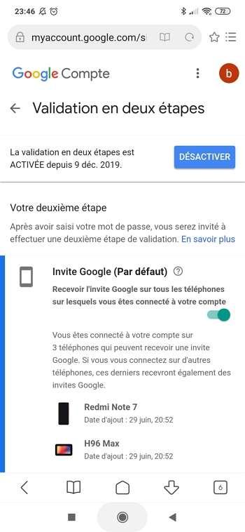 La validation en deux étapes fonctionne désormais. © Google Inc.