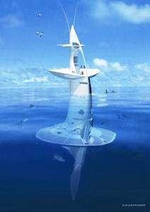 Vue d'artiste du Sea Orbiter à l'eau (cliquer sur l'image pour l'agrandir). La structure est immergée à 60% de sa hauteur (31 mètres sur 51). Au-dessus de l'eau, la coque verticale comporte trois ponts, dont le dernier est élargi. On voit des hommes se promener sur sa partie supérieure. Plus haut, à la base de deux antennes, une vigie permet d'observer l'océan. © Projet Sea Orbiter