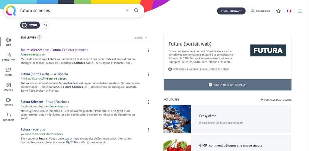 Qwant est un moteur de recherche français qui ne trace pas ses utilisateurs. © Qwant
