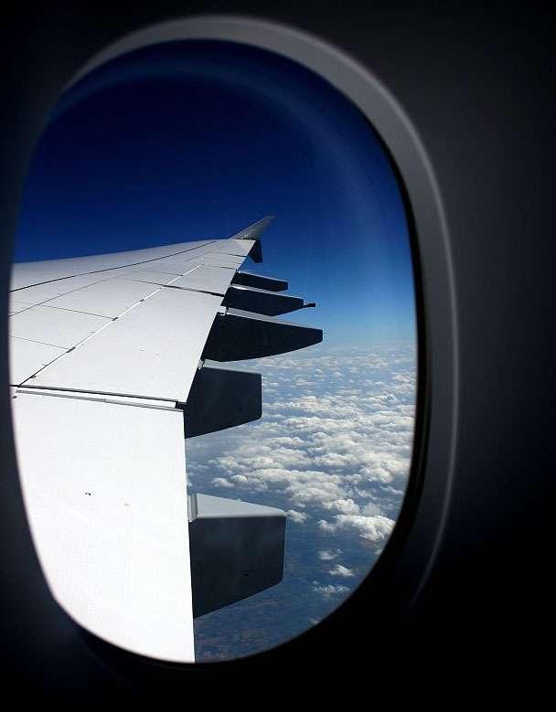 Profil d'une aile au travers du hublot. Contrairement à une croyance populaire, la différence de distance parcourue par l'air selon le côté de l'aile n'a rien à voir avec la portance. © Raoul, cc by nc 2.0