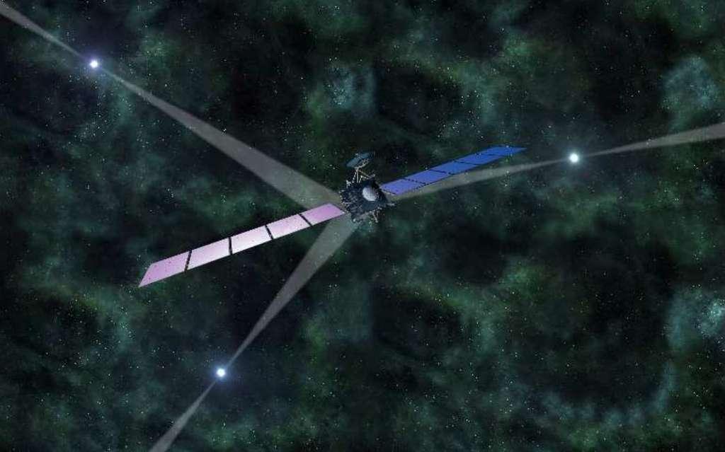 Une vue d'artiste d'une sonde du type de Rosetta, qui serait équipée d'un GPS interplanétaire utilisant des pulsars. La méthode étant celle de la triangulation, il faudrait trois pulsars dont les faisceaux d'ondes balayeraient l'espace tels des phares, comme sur cette image. © Esa