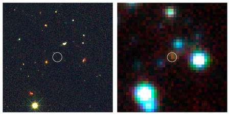 A gauche, une image dans le visible de GOODS 850-5 (dans le cercle) prise avec le télescope Hubble. A droite, celle en infrarouge prise par Spitzer. Cliquez pour agrandir. Crédit : Wang et al., STScI, Spitzer, Nasa, NRAO/AUI/NSF