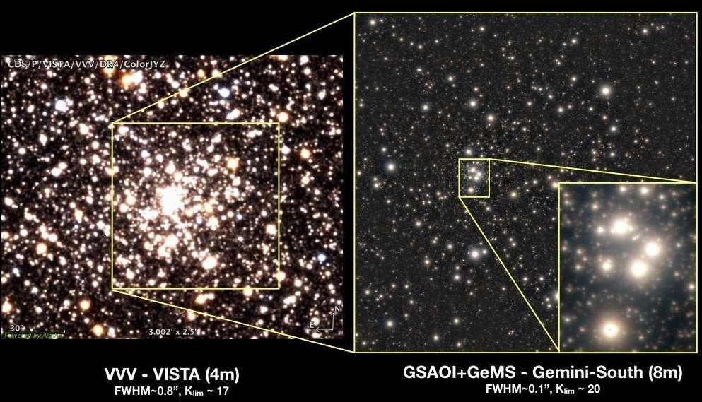 Comparaison entre l'image de l'amas globulaire HP 1 prise par le télescope Vista de l'Observatoire européen austral (ESO) – 4 m de diamètre, campagne d'observation VVV – et l'image haute résolution prise par le télescope Gemini sud – 8 m de diamètre, doté des instruments d'optique adaptative Gemini South Adaptive Optics Image (GSAOI) et Gemini Multi-Conjugate Adaptive Optics System (GeMS). © Gemini Observatory/NSF/AURA/VISTA/Aladin/CDS