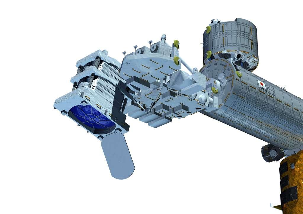 Schéma de l'installation du télescope EUSO dans le secteur japonais de la Station spatiale (tel qu'il était envisagé en 2013). © Nasa
