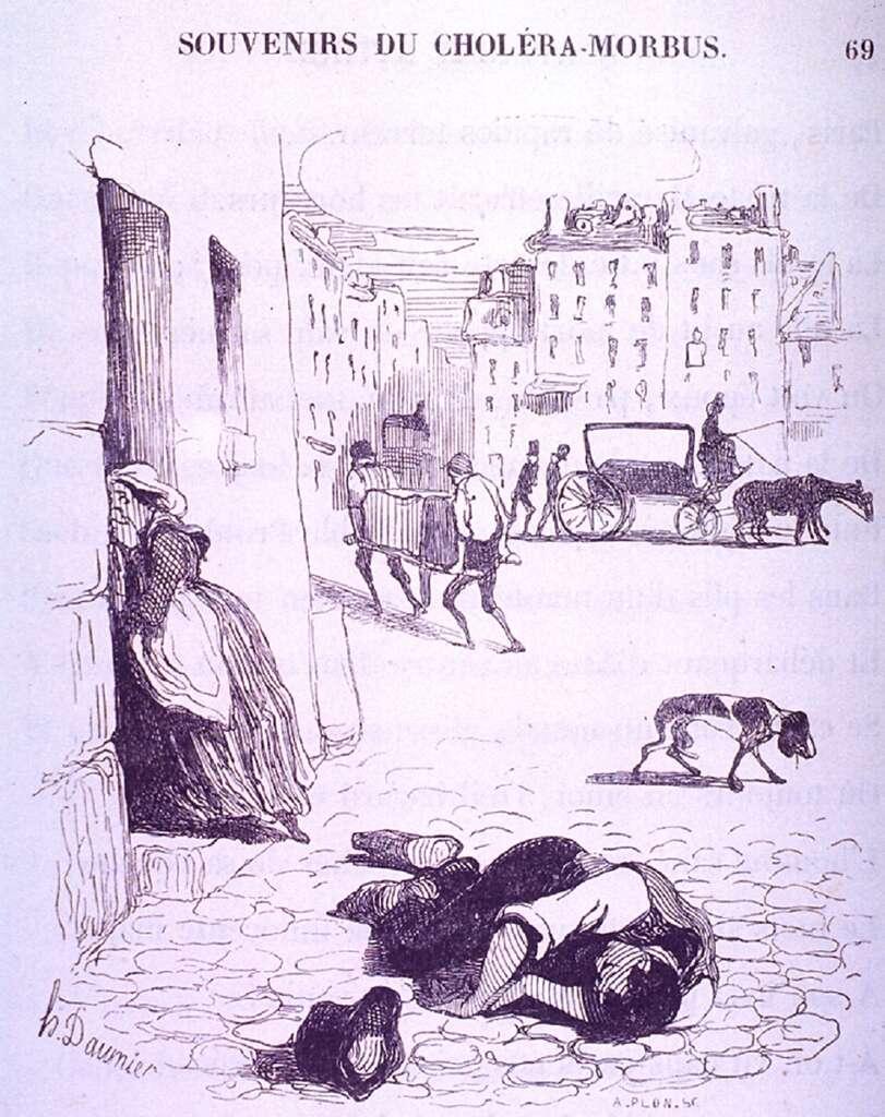 """""""Souvenirs du choléra morbus"""", à Paris, par Honoré Daumier. National Library of Medicine, USA. © The National Library of Medicine, domaine public."""