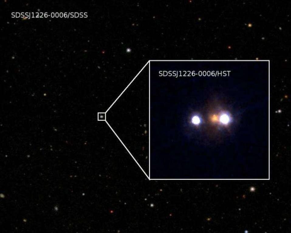D'abord découvert à l'aide de la campagne d'observations SDDS, l'objet SDSSJ1226-0006 se révèle clairement sous l'œil perçant du télescope Hubble. La résolution du télescope spatial est telle que l'on voit clairement en blanc les deux images d'un quasar dédoublé par effet de lentille gravitationnelle forte par une galaxie massive (en rouge). © Kavli Institute for the Physics and Mathematics of the Universe