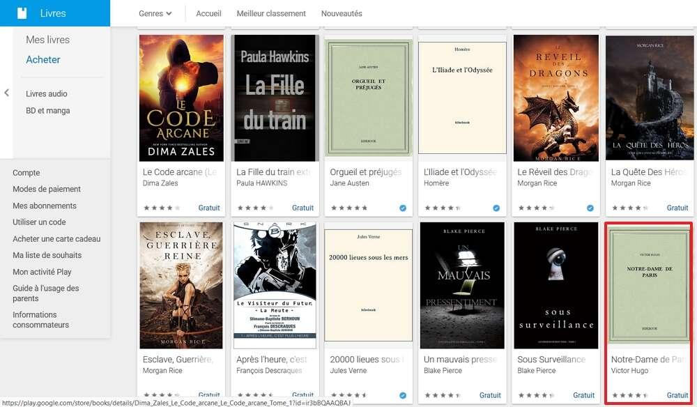 Faîtes votre choix parmi les 250 titres proposés. © Google Inc.