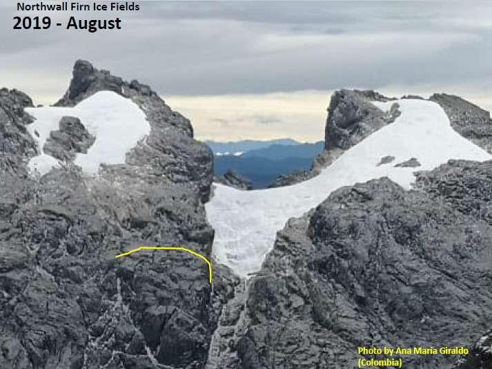 Là, un cliché pris par un amateur en 2019. Le glacier s'est scindé en deux parties et a perdu environ 75 % de son volume. Il pourrait ne pas survivre à la décennie qui s'annonce. © Ana Maria Giraldo