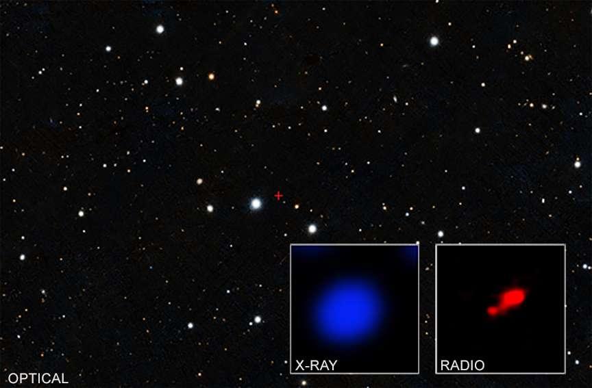 Ici, une image du sondage optique réalisé par Pan-STARRS. Dans l'encadré de gauche, les rayons X détectés par Chandra dans la région marquée par une croix rouge. Dans l'encadré de droite, l'image donnée par les radiotélescopes d'Alma. On y découvre le quasar et une petite galaxie voisine. © Chandra X-Ray Observatory, Nasa