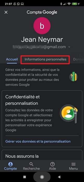 Appuyez sur « Informations personnelles ». © Google Inc.