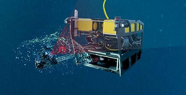 Illustration du robot sous-marin en train de sonder un larvacé et son mucus grâce à l'instrument DeepPIV. © Kim Fulton-Benett, MBARI 2017