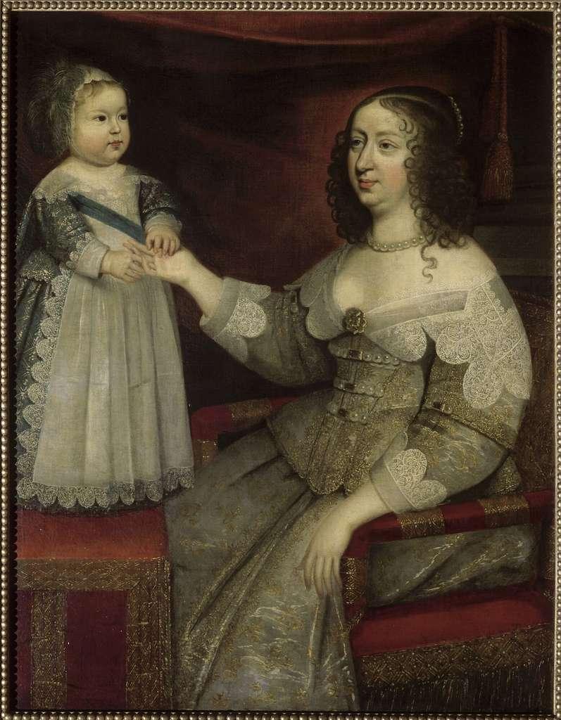Louis XIV et sa mère Anne d'Autriche en 1639 ou 1640. Anonyme, château de Versailles. © RMN, Grand Palais (Château de Versailles), domaine public