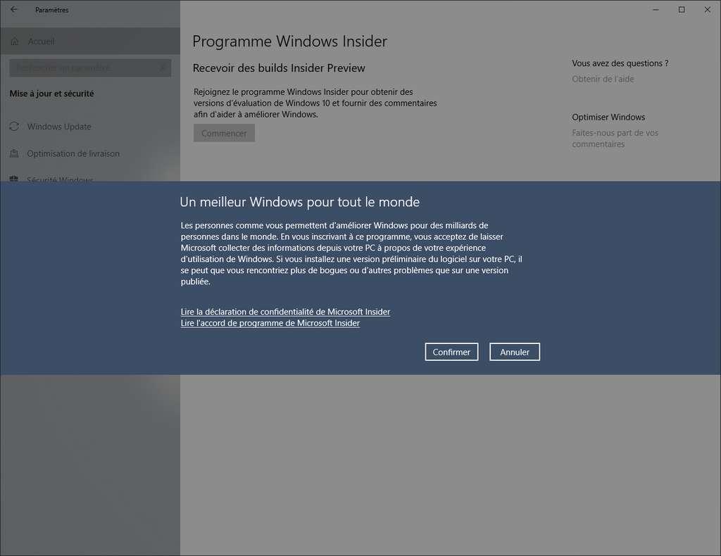 Le programme Windows Insider est lié à votre compte Microsoft. © SR/Futura
