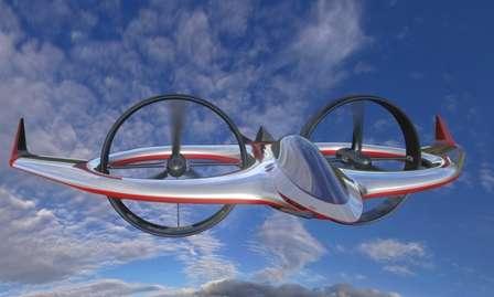 Vue d'artiste du Project Zero en mode avion. Les deux rotors sont disposés verticalement et tractent l'appareil comme les hélices d'un avion. Les ailes, mais aussi le fuselage et les carénages des rotors, assurent toute la portance lorsque la vitesse est élevée. L'allure futuriste est due à Stile Bertone, plus connu dans le monde de l'automobile. © AgustaWestland