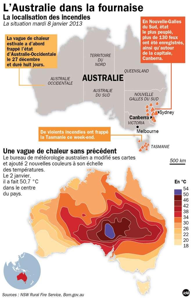 La carte du haut rappelle l'historique de la vague de chaleur qui a touché l'Australie en ce début d'année et la position des principaux feux de brousse. L'image du bas montre un relevé des températures réalisé le 2 janvier 2013. La couleur violette n'avait jamais été utilisée auparavant par les services météorologiques australiens. © Idé