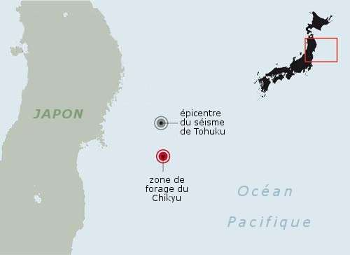La zone de forage se situe au sud de l'épicentre du séisme. © D'après Nature