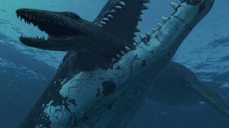 Scène de vie dans les océans du Jurassique. Un Predator X, long d'une quinzaine de mètres attrape un plésiosaure en le saisissant au niveau de son très long cou. © Natural History Museum, University of Oslo