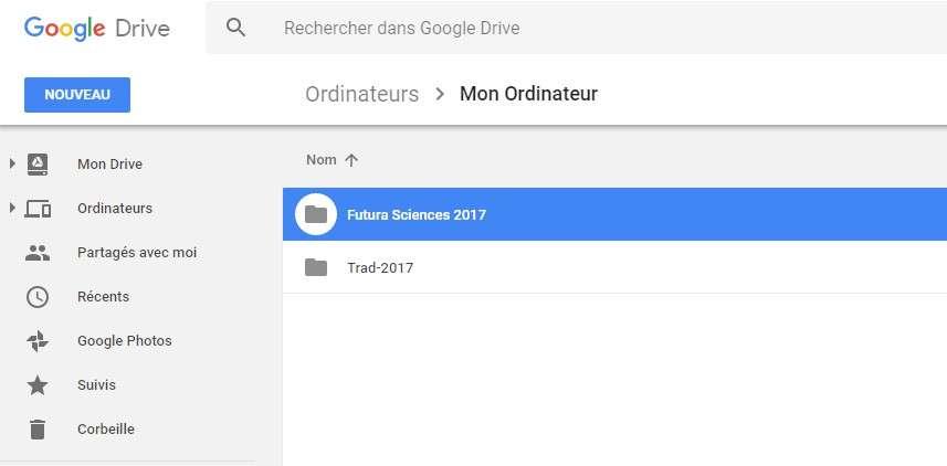 Sur Google Drive, les dossiers synchronisés depuis l'ordinateur sont rangés sous le libellé Ordinateurs. © Futura