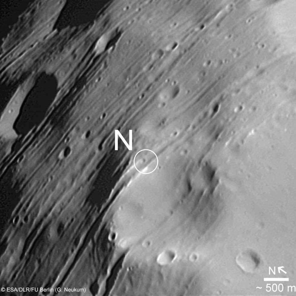 Le pôle nord de Phobos vu par la sonde européenne ExoMars. Cette lune pourrait contenir des traces de vie martienne. © Esa /DLR /FU Berlin (G. Neukum)
