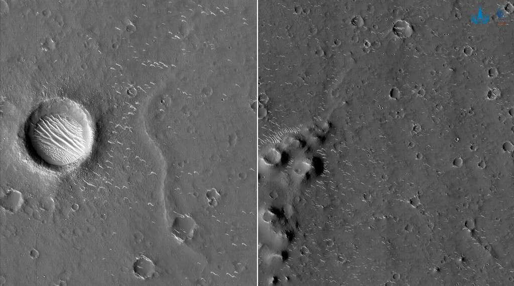 Ces deux images en noir et blanc de la surface de Mars font partie de la première série d'images obtenues par la sonde Tainwen-1. Elles ont été acquises depuis une altitude entre 330 et 350 kilomètres, quelques jours après l'arrivée de la sonde autour de la Planète rouge. La résolution est de 70 centimètres, ce qui signifie que les détails les plus petits visibles mesurent un peu plus de deux mètres. © CNSA