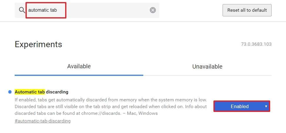 « Automatic tab discarding » permet de mieux gérer l'allocation de votre mémoire vive. © Google Inc.