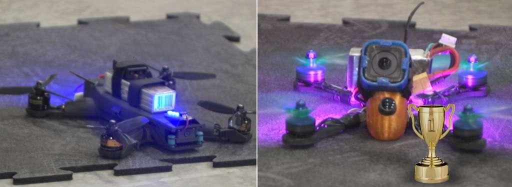 À gauche, l'un des drones autonomes conçus par le Jet Propulsion Laboratory de la Nasa. À droite, le drone piloté par Ken Loo qui s'est imposé. © Nasa, Jet Propulsion Laboratory