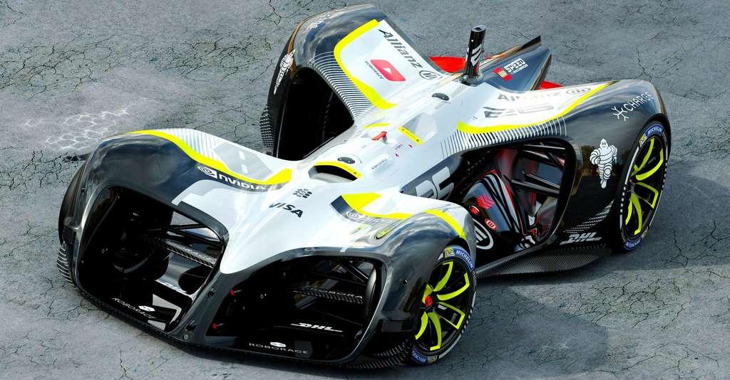 Voici la version finale de la Robocar, la voiture de course autonome qui participera au championnat qui engagera dix bolides identiques d'un point de vue matériel. Les équipes s'affronteront sur la qualité de leur intelligence artificielle. © Daniel Simon, Roborace