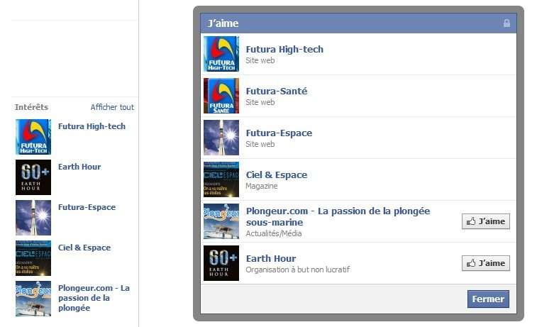 Les amis Facebook d'un internaute ne partagent pas forcément les mêmes intérêts, le graphe d'intérêt est plutôt personnel. © Futura-Sciences-Facebook