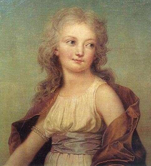 Marie-Thérèse-Charlotte est surnommée Mousseline la sérieuse par sa mère Marie-Antoinette. Ci-contre, huile sur toile d'Adolf Ulrik Wertmüller, portrait de Marie-Thérèse Charlotte « Madame Royale », 1786, Château de Löfstad, Suède. © Wikimedia Commons CC0, domaine public.