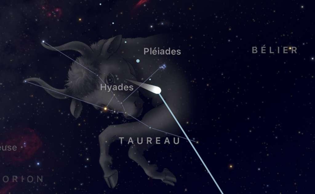Le 16 décembre, la comète 46P/Wirtanen sera visible à côté des Pléiades. © Capture d'écran de l'app SkyGuide