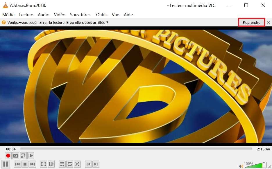 L'option pour reprendre la lecture là où elle s'était arrêtée apparaît, soyez vif et cliquez sur « Reprendre » ! © VideoLAN Organization