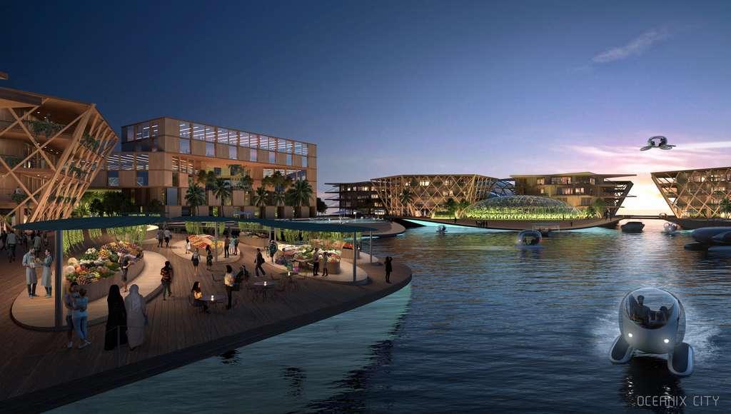 La ville sera construite en matériaux durables comme le bois et le bambou. © Oceanix/BIG-Bjarke Ingels Group