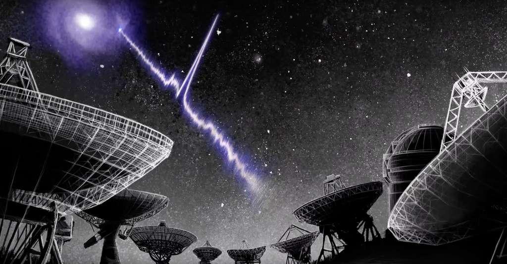 C'est grâce à des données recueillies par le radiotélescope Chime (Canadian Hydrogen Intensity Mapping Experiment) que des astronomes ont mis au jour une périodicité dans l'activité du sursaut radio rapide FRB 189016.J0158+65. Maintenant, des chercheurs de l'observatoire de Jodrell Bank (Royaume-Uni) ont établi une périodicité pour un autre sursaut radio rapide, FRB 121102. Une périodicité plus longue, de 157 jours. © Danielle Futselaar, artsource.nl, Institut néerlandais de radioastronomie