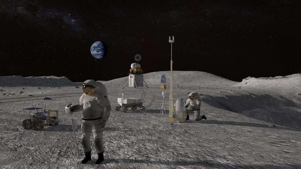 Le programme Artemis de la Nasa prévoit le retour des États-Unis sur la Lune dès 2024 avec un premier équipage composé d'un homme et d'une femme. © Nasa