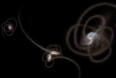 Une image d'artiste montrant les courants de marées arrachées aux galaxies lors de rencontres et de collisions. Une partie des étoiles dans ces courants resteraient dans les halos des galaxies, produisant une partie peut-être non négligeable du CIB. © Nasa/JPL-Caltech
