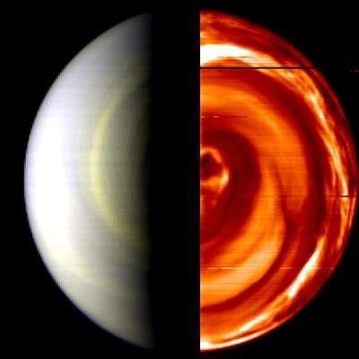 Cette image en fausse couleur de Virtis montre le jour (à gauche) et la nuit de Vénus (à droite). Les détails les plus petits mesurent quelque 50 kilomètres par pixel. (Crédits : ESA / INAF-IASF, Rome, Italy & Observatoire de Paris, France)
