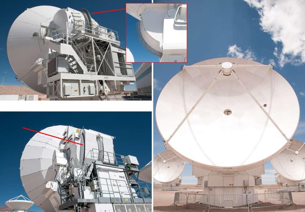 Alors que les États-Uniens ont préféré un système classique (mécanique) pour le mouvement de leurs antennes (en bas à gauche), Thales Alenia Space a mis au point un système avec des aimants (en haut à droite). © Rémy Decourt
