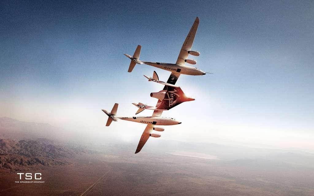 Le SpaceShipTwo sera lancé depuis le White Knight 2, un avion de 43 m d'envergure, l'emportant sous son fuselage, jusqu'à environ une vingtaine de kilomètres d'altitude d'où s'effectuera la séparation des deux engins. Le SpaceShipTwo utilisera alors son propre système de propulsion pour rejoindre l'espace. © Spaceship Company