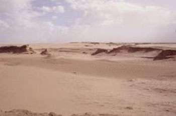 Conséquences de l'érosion sévère et accélérée provoquée par les vents forts du nord et du nord-est dans le désert Horquin, Mongolie intérieure, Chine. © FAO,J.Y.Piel