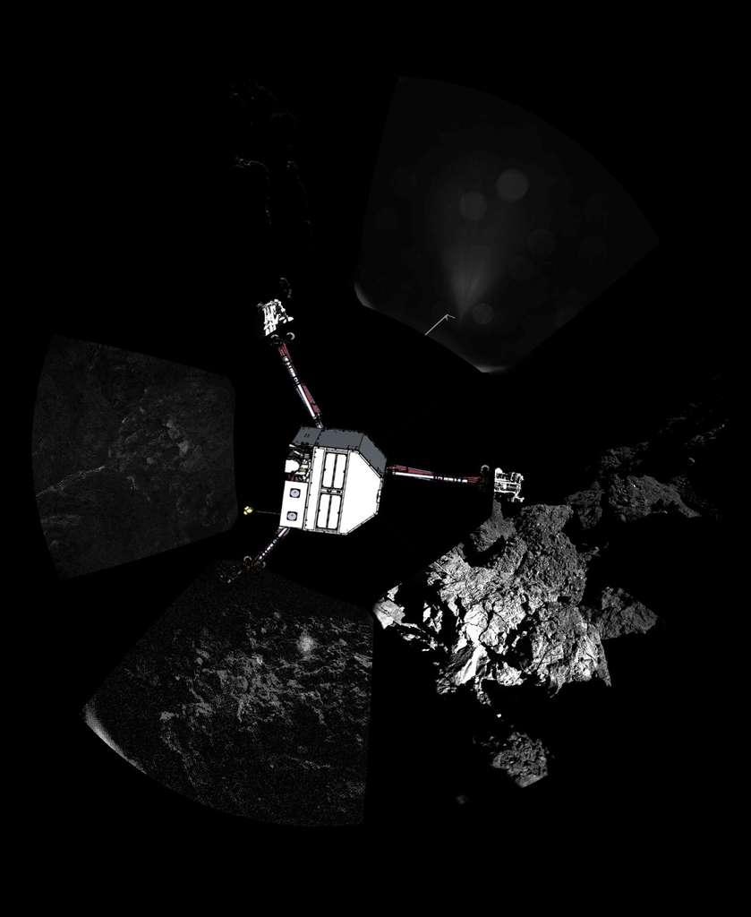 Un dessin de Philae a été superposé à cette vue à 360° du site où il a trouvé refuge le 12 novembre, après son atterrissage plein de rebondissements sur le noyau de la comète Tchouri. L'image a été prise avec l'instrument Civa. © Esa, Rosetta, Philae, Civa