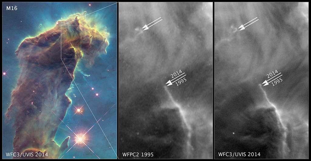 En comparant l'image composite de 2014 avec celle réalisée en 1995, les astronomes ont relevé des changements dans certaines régions comme l'expansion, à plus de 724.000 de km/h, de ces jets de gaz sur environ 9 années-lumière (près de 100.000 milliards de km). © Nasa, Esa, the Hubble Heritage Team (STScI/AURA)