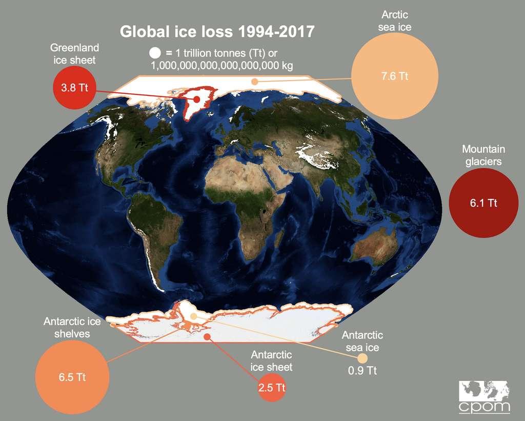 La glace fond partout dans le monde, mais à des rythmes un peu différents. © CPOM