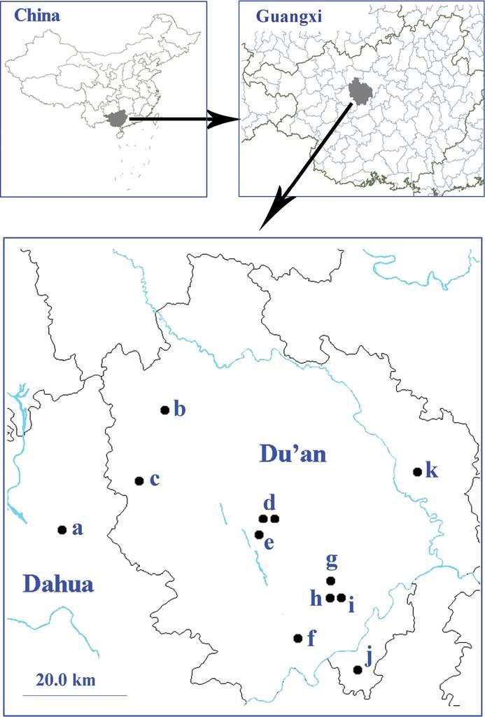 Localisation de la région explorée. © Mingyi Tian et al., Zookeys 2014, cc by 4.0