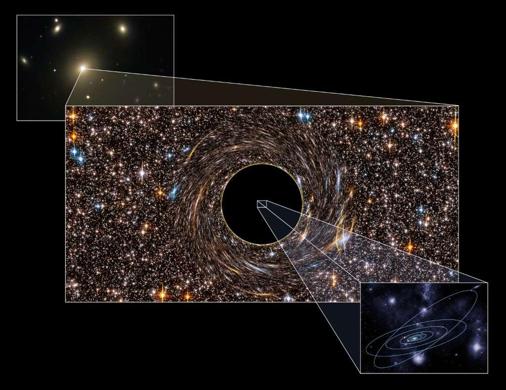 NGC 3842 (en haut à gauche) est la galaxie la plus brillante dans le riche amas de galaxies du Lion. Une image d'artiste montre son trou noir central, déformant fortement les images des étoiles environnantes par son puissant champ de gravitation. La taille de son horizon des événements vaut 200 fois l'orbite de la Terre, ou cinq fois celle de Pluton. L'influence gravitationnelle de ce trou noir s'étend sur une sphère de 4.000 années-lumière de diamètre. © Pete Marenfeld