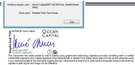 Reconnaissance par signature avec Grapho-Lock. © DR